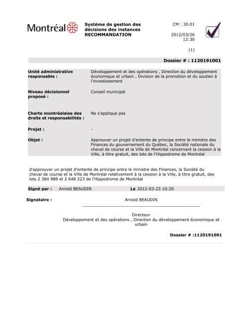 Approbation de la convention - City of Côte Saint-Luc