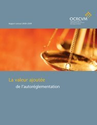 Rapport annuel 2008 - 2009 - ocrcvm