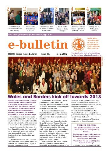 Wales and Borders kick off towards 2013 - SGI-UK E-Bulletin and ...