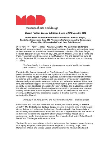 Fashion Jewelry Press Release (pdf) - Museum of Arts and Design