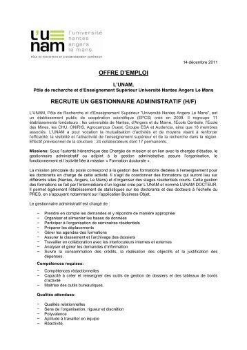 offre d'emploi recrute un gestionnaire administratif (h/f) - L'UNAM