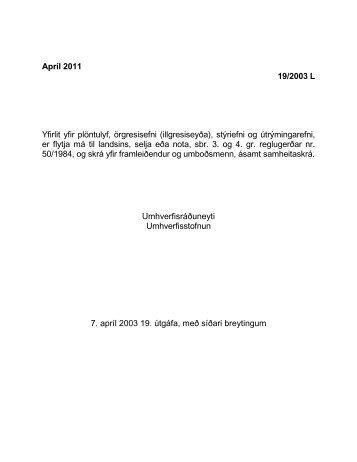 Apríl 2011 19/2003 L Yfirlit yfir plöntulyf ... - Umhverfisstofnun