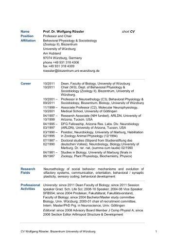 Name Prof. Dr. Wolfgang Rössler short CV Position Professor and ...