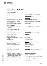 Internetadressen für Praktika - Stadt Zürich