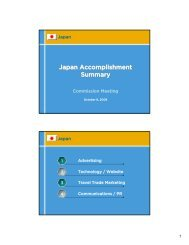 Japan Accomplishment Summary - California Tourism