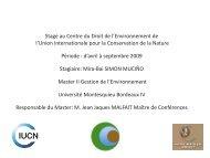 Rapport de Stage au Centre du Droit de l'Environnement - Master ...
