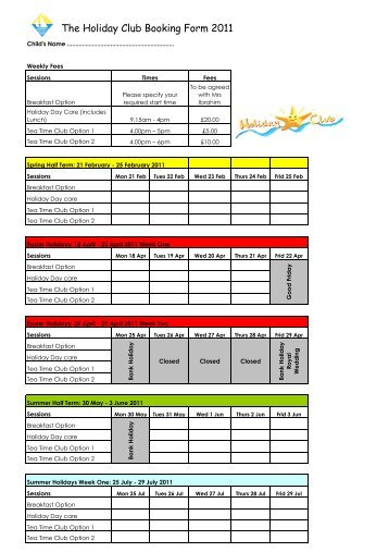 Holiday Booking form 2011