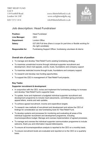 Job Description  Fundraising Events Manager  Lennox ChildrenS