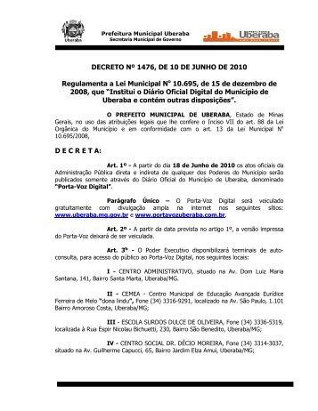 Decreto 1476 - Regulamenta a Lei Municipal No 10.695, de 15 de ...