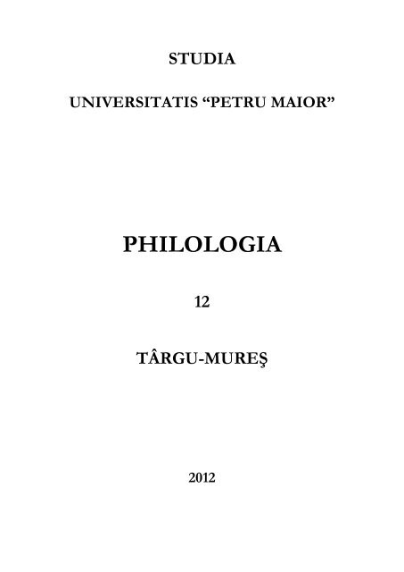 Philologia Universitatea Petru Maior