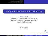 History of Mathematics as a Teaching Strategy - NIE Mathematics ...