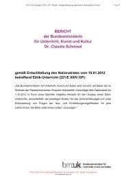 BERICHT der Bundesministerin für Unterricht, Kunst und Kultur Dr ...