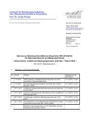 Lehrstuhl für Betriebswirtschaftslehre, insb. Betriebswirtschaftliche ...