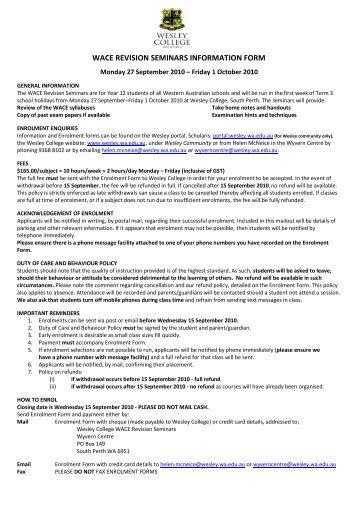 WACE REVISION SEMINARS INFORMATION FORM - Wesley College