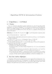 Algorithme ECM de factorisation d'entiers