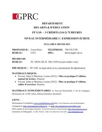 département des arts & d'education fp 1110 – 3 crédits (3-0-2)