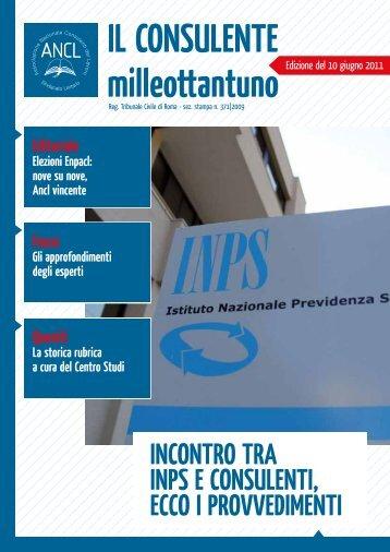 InContro trA InpS E ConSuLEntI, ECCo I provvEdImEntI - Ancl