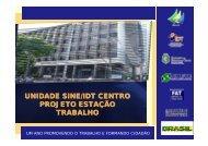 UNIDADE SINE/IDT CENTRO PROJETO ESTAÇÃO TRABALHO