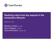 Realizing value from key aspects in the transaction ... - FEI Canada