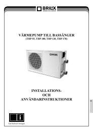 värmepump till bassänger installations- och ... - Partnerline AS