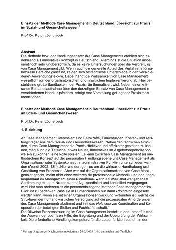 Einsatz der Methode Case Management in Deutschland: Übersicht ...