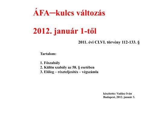 ÁFA-kulcs változás