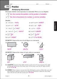 Algebra I Chapter 3 Practice Workbook Answer Key