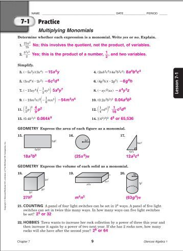 Glencoe mcgraw hill algebra 1 skills practice workbook answers