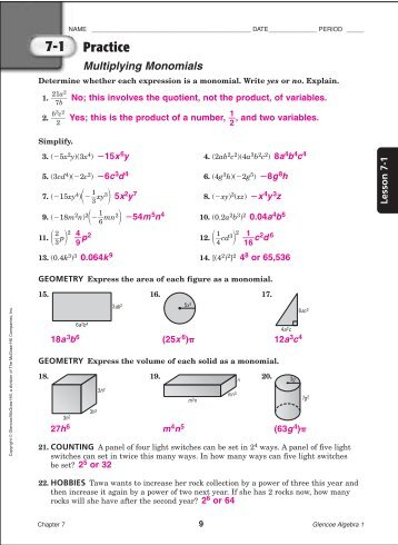 Algebra 1 worksheets glencoe with answers