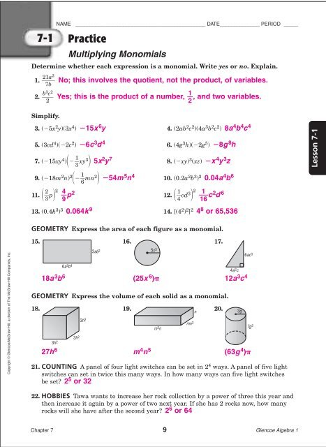 Algebra I Chapter 7 Practice Workbook Answer Key