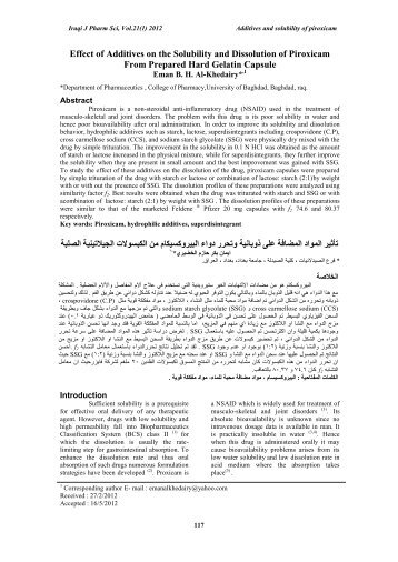 Effect of Additives on the Solubility and Dissolution of Piroxicam