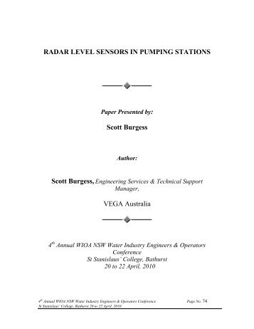 RADAR LEVEL SENSORS IN PUMPING STATIONS Scott ... - WIOA