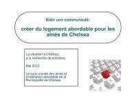 créer du logement abordable pour les aînés de Chelsea