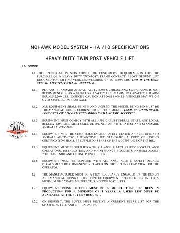 1a /10 specifications heavy duty twin post vehicle lift - Mohawk Lifts