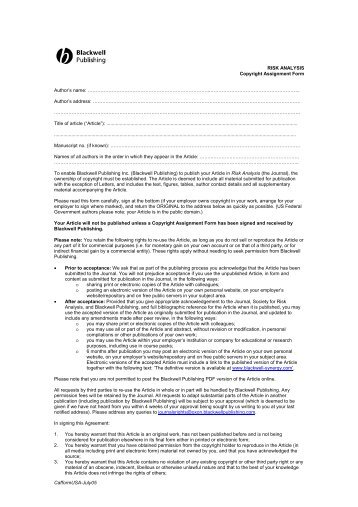 Copyright Assignment Form - Society for Risk Analysis