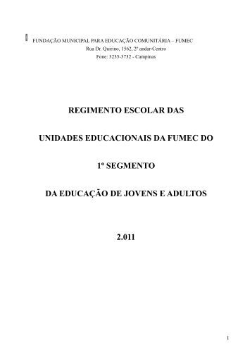 Regimento Escolar das Unidades Educacionais ... - Pedro P. Ferreira