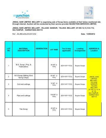 JINDAL SAW LIMITED - Login - Metaljunction