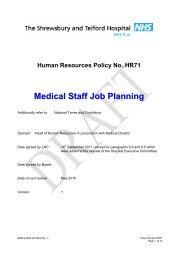 Medical Staff Job Planning - Royal Shrewsbury Hospitals NHS Trust