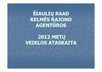 Kelmės rajono agentūros 2012 m. veiklos ataskaita - RAAD