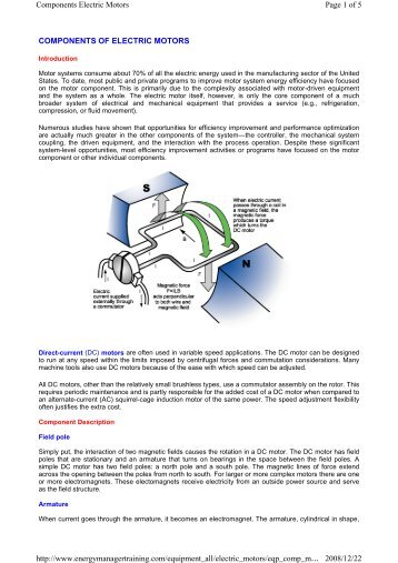 COMPONENTS OF ELECTRIC MOTORS Page 1 of 5 Components ...