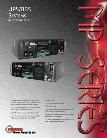 MP Series brochure NEW 5.pmd - Myers Power Products, Inc.