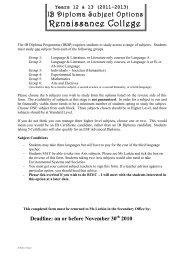 Year 11 IBDP options 2011 2013 - Renaissance College