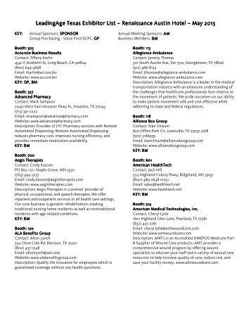 2013 Exhibitor List