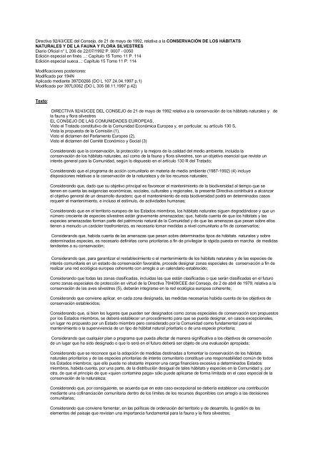 Directiva 92 43 CEE Del Consejo De 21 Mayo