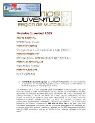 Premios Juventud 2003 - Comunidad Autónoma de la Región de ...