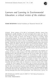 Learners and Learning in Environmental Education: a critical review ...