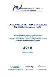 LA SICUREZZA IN ITALIA E IN EUROPA - Osservatorio di Pavia