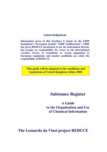 Substance Register. A Guide to the Organisation and Use ... - Reduce
