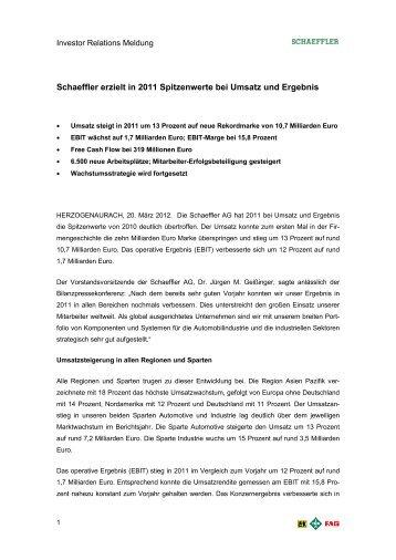 IR-Mitteilung FY 2011 (PDF 101KB) - Schaeffler Gruppe