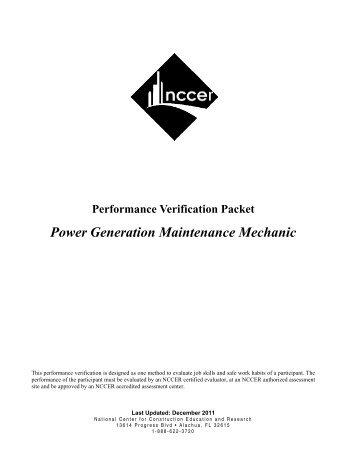 Power Generation Maintenance Mechanic - NCCER